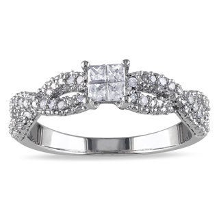 Miadora Sterling Silver 1/3ct TDW Princess-cut Braided Diamond Ring (H-I, I2-I3)