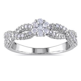 Miadora Sterling Silver 1/3ct TDW Braided Diamond Ring (H-I, I2-I3)