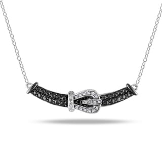 M by Miadora Sterling Silver Diamond Buckle Necklace