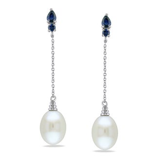 Miadora 10k White Gold Cultured Freshwater Pearl and Sapphire Earrings (9-9.5 mm)
