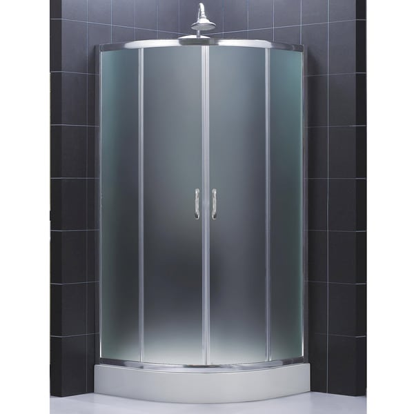 DreamLine Prime Sliding Frosted Shower Enclosure and 38x38-inch Shower Tray