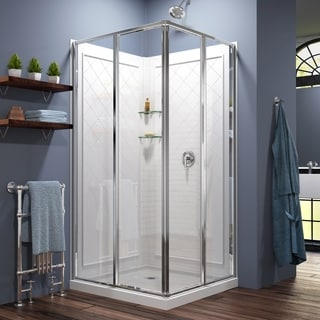 DreamLine Cornerview Sliding Shower Enclosure, Base and Shower Backwall Kit