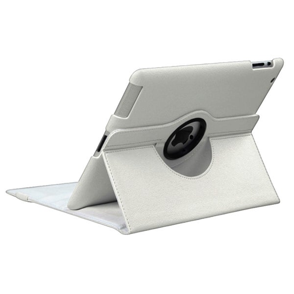 INSTEN White Rotatable Leather Tablet Case Cover for Apple iPad 3/ 4