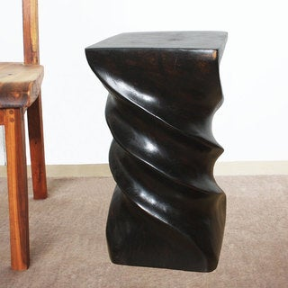 Triple Twist 12-Inch Square x 22 Inches High Mocha Oil Stool (Thailand)