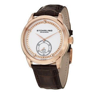 Stuhrling Original Men's Circuit Water-resistant Automatic Leather-strap Watch