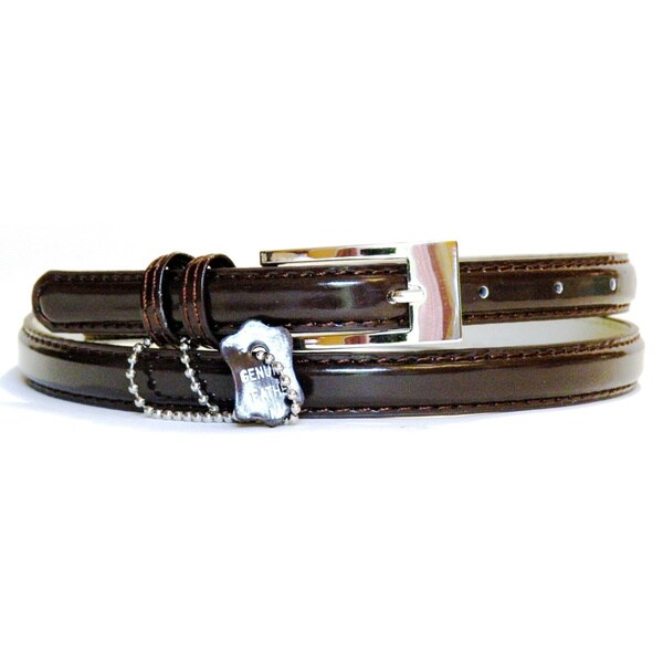 Women's Brown Patent Leather Skinny Belt