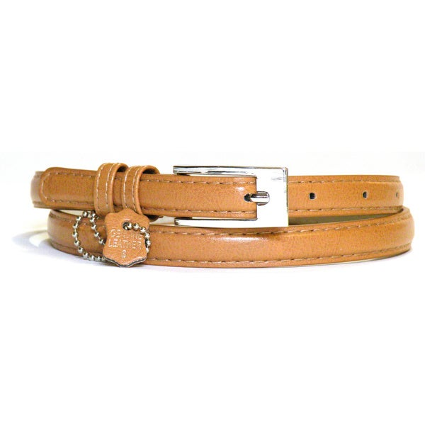 Women's Tan Leather Skinny Belt