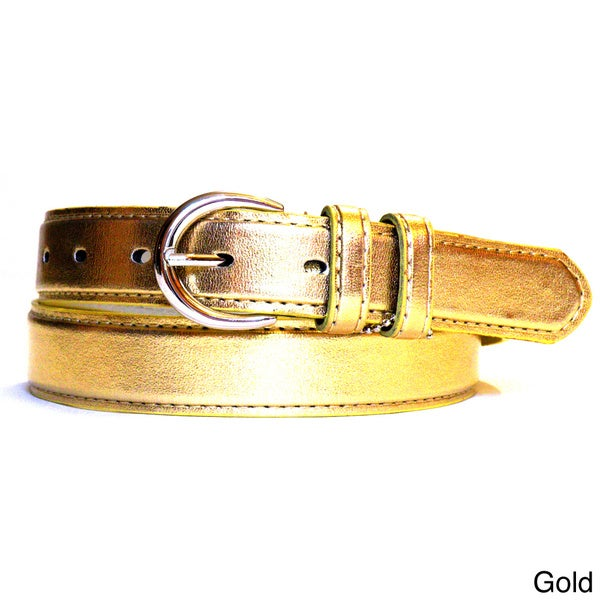 Women's Metallic Leather Dress Belt