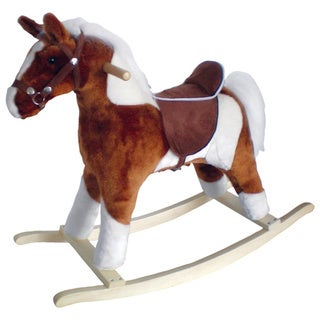 Pinto Horse with Brown Saddle and Sound