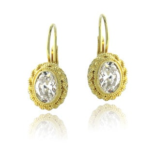 Icz Stonez 18k Gold Over Silver Cubic Zirconia Oval Drop Earrings