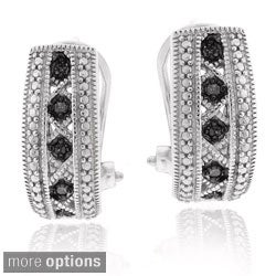 DB Designs Sterling Silver Or Gold Overlay 1/10ct TDW Diamond Huggie Earrings