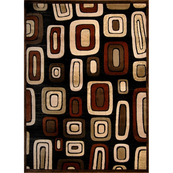 Modern Element Brown Geometric Area Rug (3'2 x 4'5)