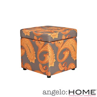 angelo:HOME Duncan Desert Sunset Brown Paisley Storage Cube Ottoman
