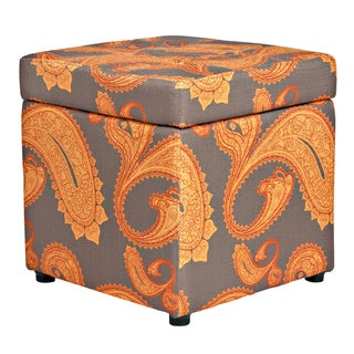 Portfolio Delphia Brown and Orange Paisley Storage Cube Ottoman