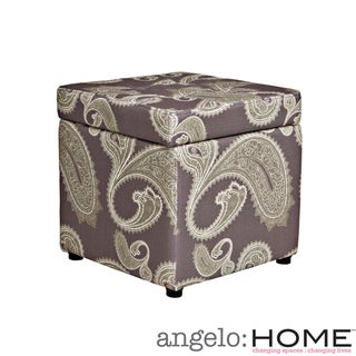 angelo:HOME Duncan Feathered Paisley Amethyst Purple Storage Cube Ottoman
