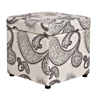 angelo:HOME Duncan Modern Charcoal and Cream Paisley Storage Cube Ottoman