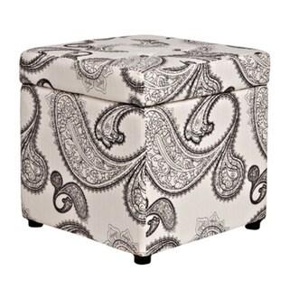 Portfolio Delphia Charcoal and Cream Paisley Storage Cube Ottoman