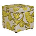 Portfolio Delphia Lemongrass Paisley Storage Cube Ottoman
