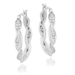 DB Designs Sterling Silver Diamond Accent Twist Hoop Earrings