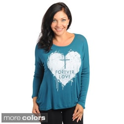 """Stanzino Women's Plus Size """"Forever Love"""" Relaxed Fit Long Sleeve Shirt"""