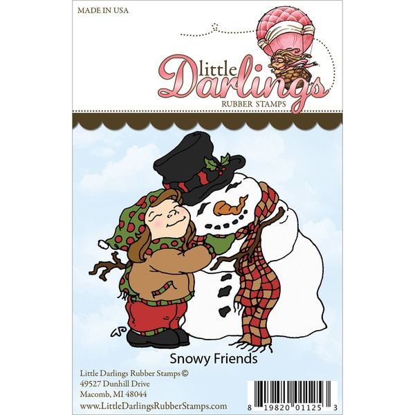 Little Darlings Unmounted Rubber Stamp-Snowy Friends