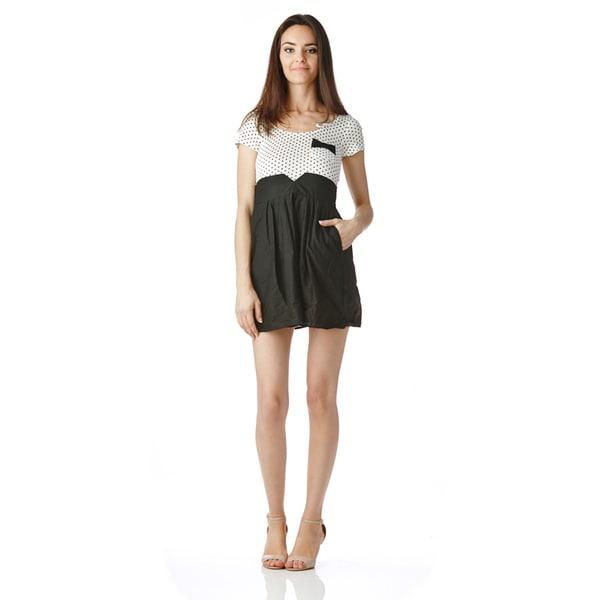 Stanzino Juniors Two Tone Black White Polka Dot Mini Dress