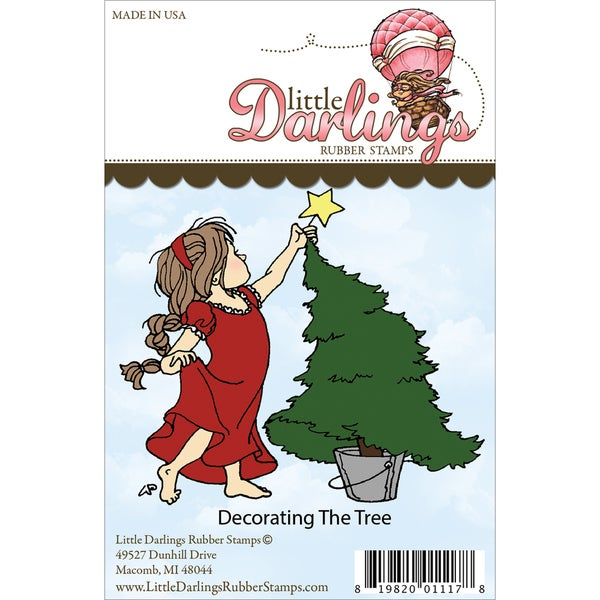 Little Darlings Unmounted Rubber Stamp-Decorating The Tree