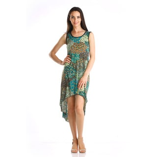 Stanzino Women's Green Printed High-low Sleeveless Dress