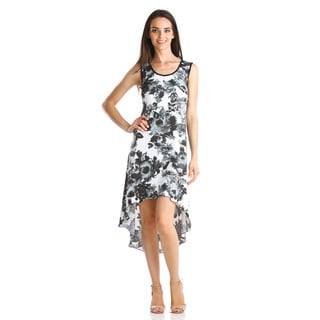 Stanzino Women's Black Rose Print High-low Dress