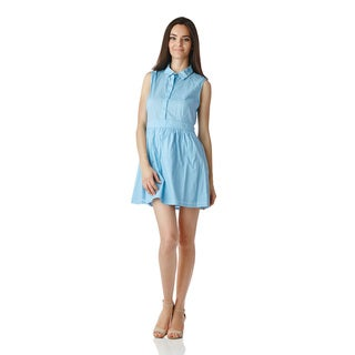 Stanzino Women's Light Blue Sleeveless Shirt Dress