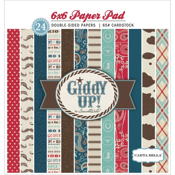 """Giddy Up Boy Double-Sided Cardstock Pad 6""""X6"""" 24/Sheets-"""
