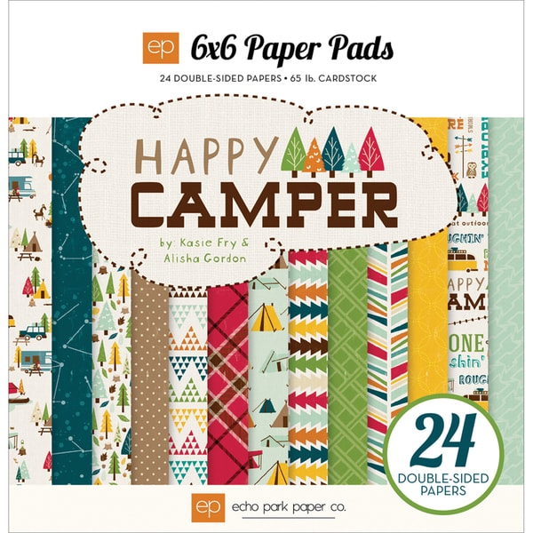 "Happy Camper Double-Sided Cardstock Pad 6""X6"" 24/Sheets-"