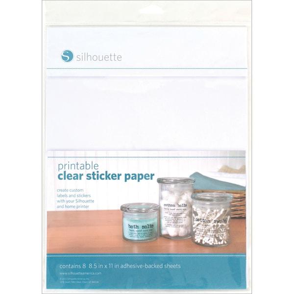 "Silhouette Printable Sticker Paper 8.5""X11in 8/Pkg 11544158"