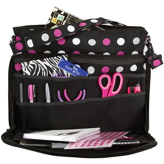 Creative Options Project Tote -Black/Magenta/White Polka Dot