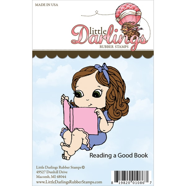 Cutie Pies Unmounted Rubber Stamp-Reading A Good Book