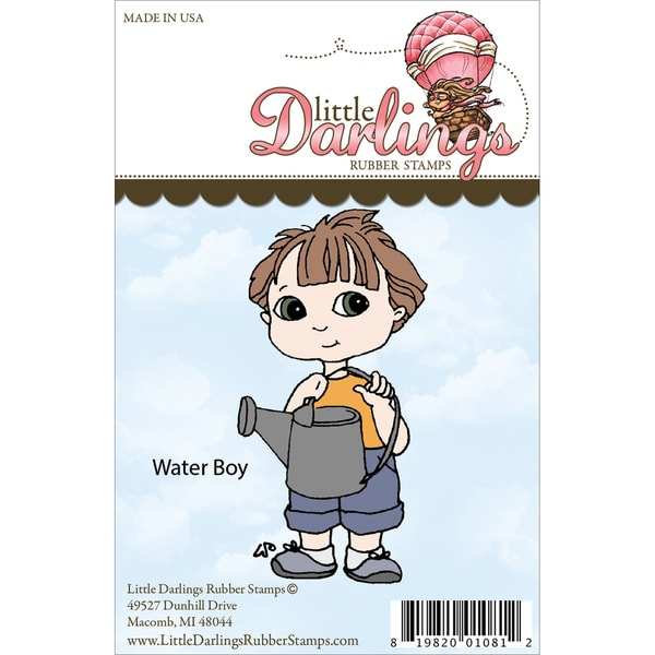 Cutie Pies Unmounted Rubber Stamp-Water Boy