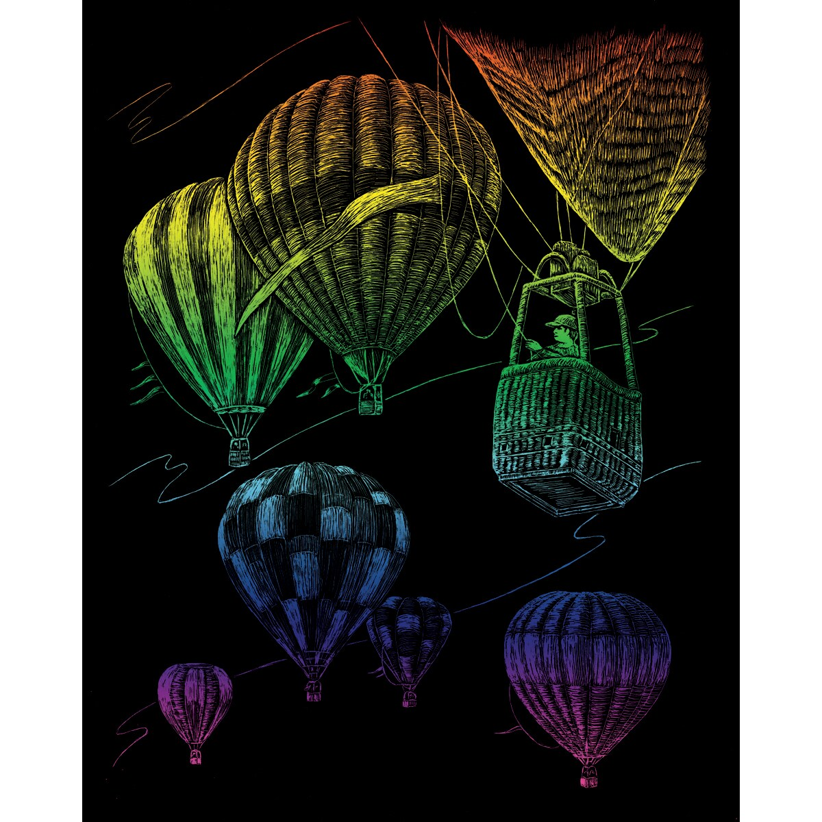 "Royal Brush Rainbow Foil Engraving Art Kit 8""X10""-Hot Air Balloons at Sears.com"