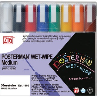 Zig Posterman Broad Tip Wet-Wipe Markers 8/Pkg-