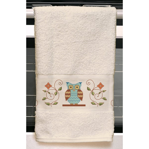 "Owl Kitchen Towel Stamped Embroidery Kit-24""X16"""