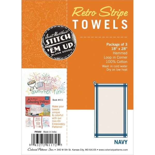 "Vintage Stripe Towel 18""X28"" 3/Pkg-White W/Navy Stripe"