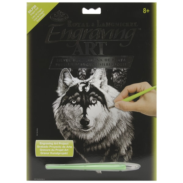 """Silver Foil Engraving Art Kit 8""""X10""""-Dragon Wolf"""