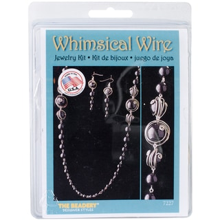 Whimsical Wire Necklace and Earrings Kit-Black