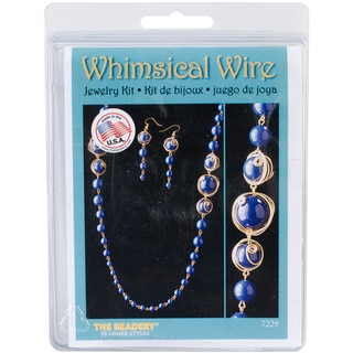 Whimsical Wire Necklace and Earrings Kit-Navy