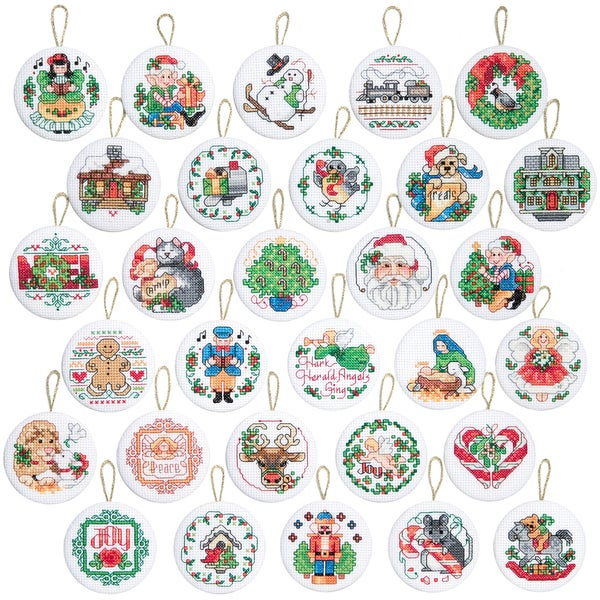 "Lotsa Christmas Ornaments Counted Cross Stitch Kit-2"" Round 14 Count Set Of 30"