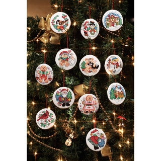 """Holiday Favorites Ornaments Counted Cross Stitch Kit-3"""" Round 14 Count Set Of 12"""
