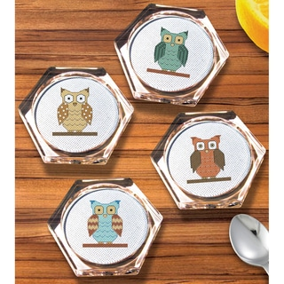 Owl Coaster Set Counted Cross Stitch Kit- Hexagon 18 Count Set Of 4