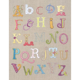 "Alphabet Sampler Free Style Embroidery Kit-12""X9-1/2"" Stitched In Cotton Floss"
