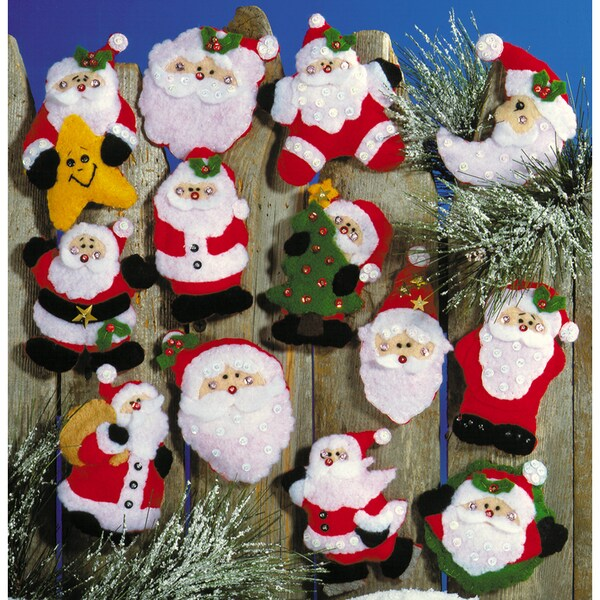 "Lots Of Santas Ornaments Felt Applique Kit-3""X4"" Set Of 13"