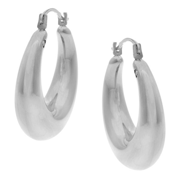 Forever Last 14k White Gold Oval-cut Crystal Hoop Earrings