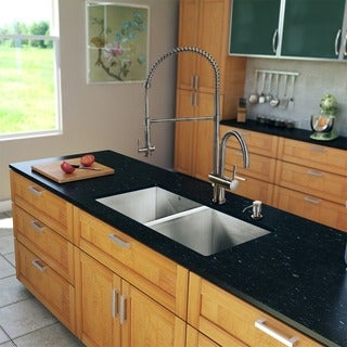 VIGO All-in-One 32-inch Undermount Stainless Steel Double-bowl Kitchen Sink and Faucet Set
